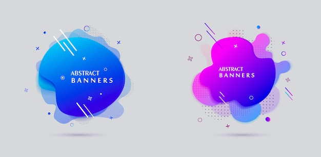 モダンなスタイルの液体形バナー販売ポスターデザイン