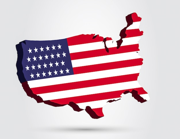 アメリカ等尺性地図ベクトル図