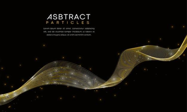 黄金の波線と未来的な粒子と抽象的な豪華な背景