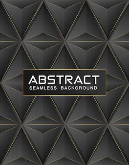 高級暗い多角形のシームレスパターンと黒のプレミアム背景