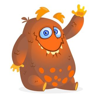 Счастливый мультяшный монстр. векторная иллюстрация для хэллоуина