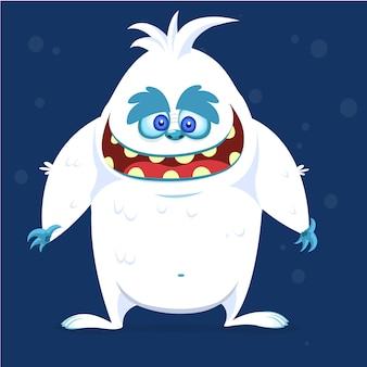 Счастливый мультфильм чудовище йети снежного человека. векторная иллюстрация для хэллоуина