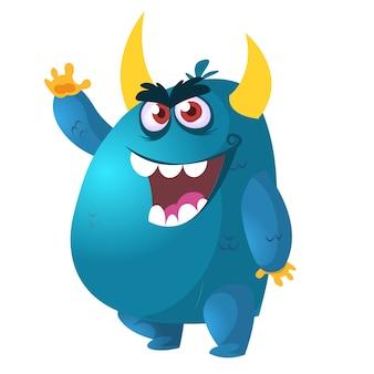 Злой мультфильм монстр. векторная иллюстрация