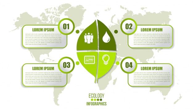 Экология инфографики шаблон с четырьмя шагами