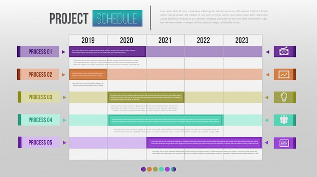 プロジェクトスケジュールグラフ毎日および毎週のタイムテーブルインフォグラフィックデザインテンプレート