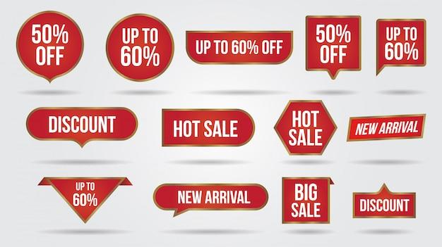 販売割引レーベルコレクションバナーとアイコンのコーナー、ラベル、カール、タブ。ショッピングタグ