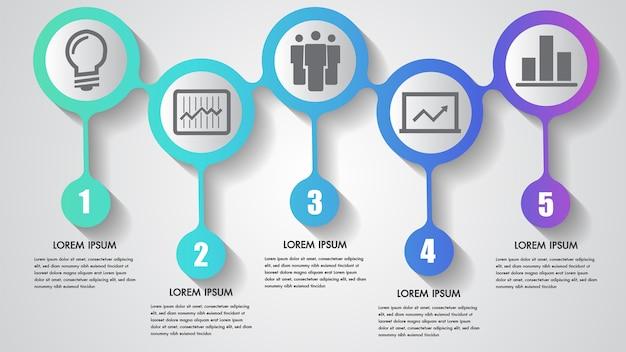 Векторный инфографический бизнес с пятью шагами