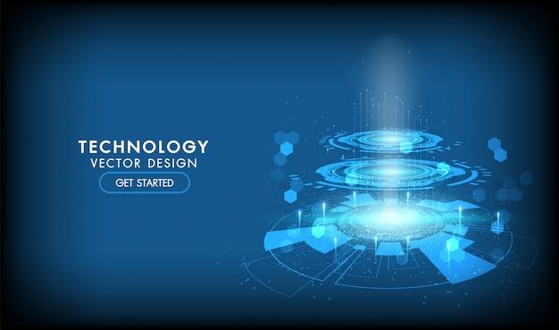 抽象的なテクノロジーハイテク通信の概念、技術、デジタルビジネス