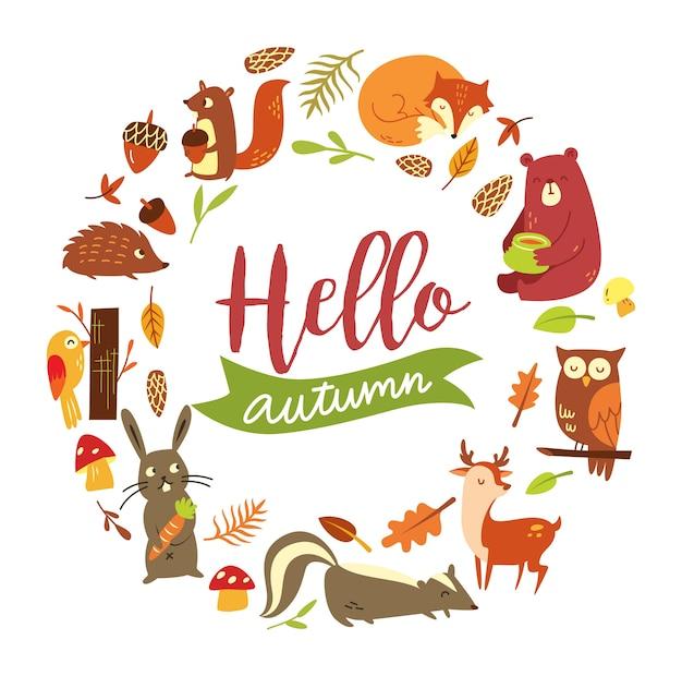 白い背景にある秋の動物のセット