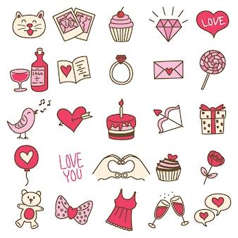 落書きスタイルのシンプルなバレンタインアイコンのセット