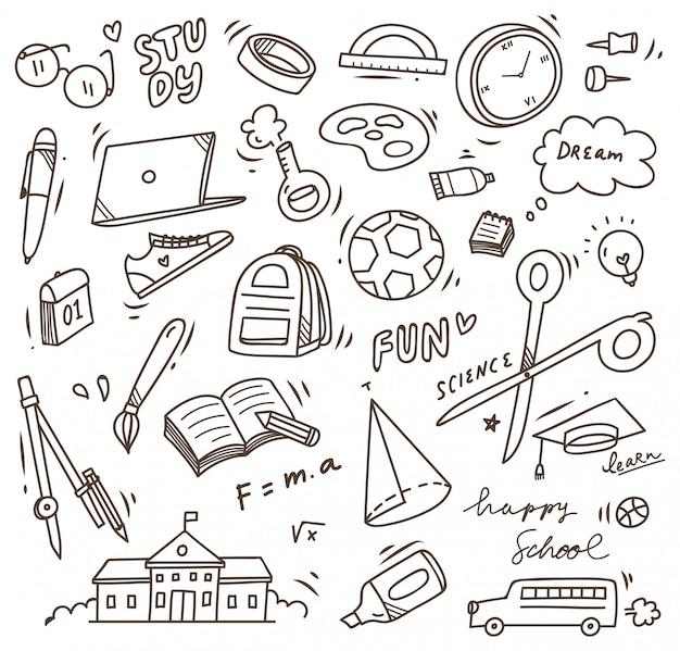 学校用品の落書き、学校のベクトル要素に戻る