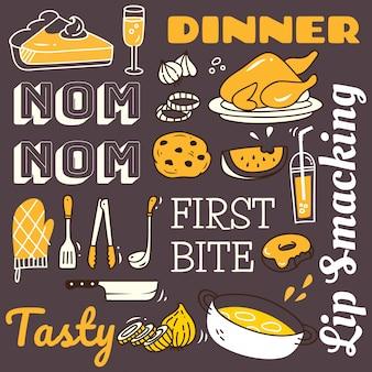 落書きスタイルで様々な食品とレストランの背景。