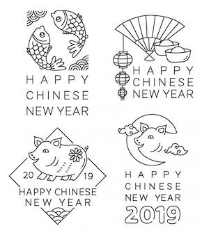 ラインスタイルのベクトルで中国の新年バッジ