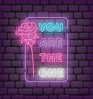 ネオン効果スタイルベクトルイラストでバレンタインの挨拶