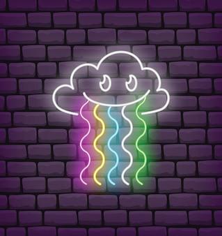 Симпатичные облака радуги каваи в неоновом стиле вектор