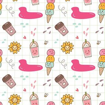 かわいいアイスクリームのシームレスな背景