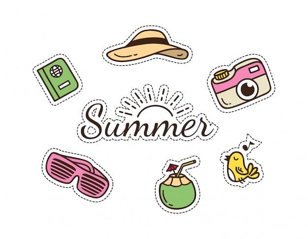 夏と旅行をテーマにしたかわいいパッチ