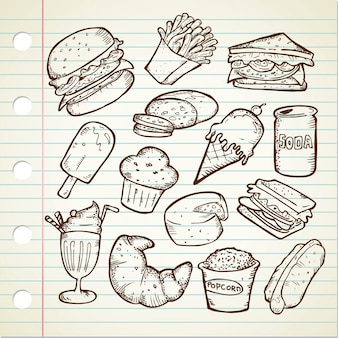 Набор рисованной каракули нездоровой пищи