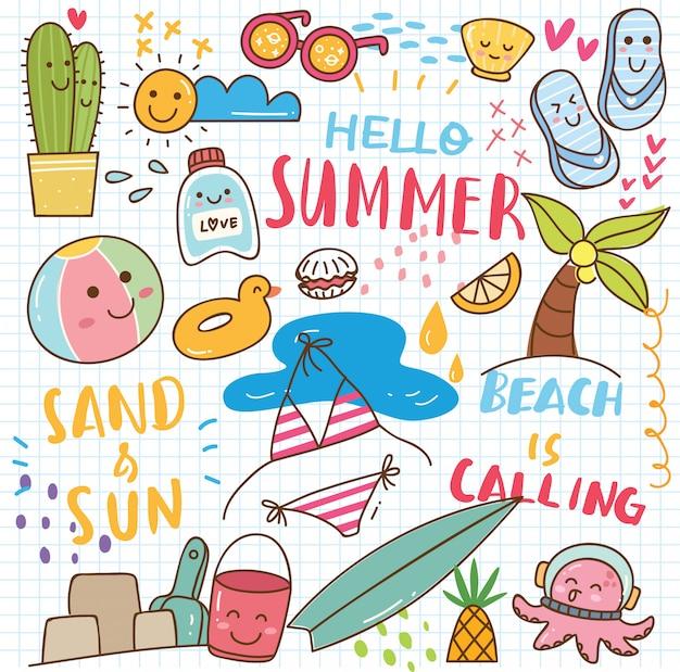 夏のかわいい落書き