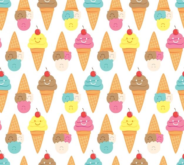 Каваи мороженое бесшовный фон