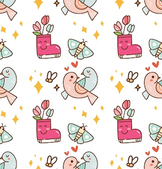Пара птиц с цветочным фоном каваи
