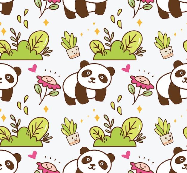 花のシームレスな背景を持つかわいいパンダ