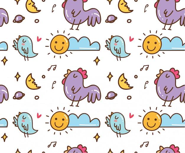 チキンと鳥の歌のシームレスな背景