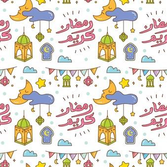 Рамадан каракули бесшовный фон