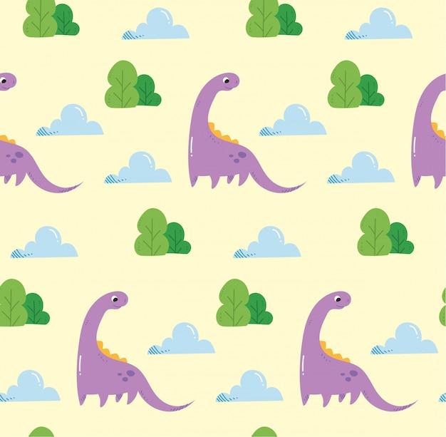 Бесшовный фон с динозаврами в стиле каваи