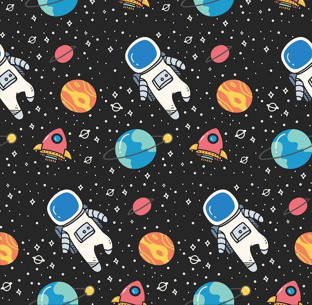 かわいいスタイルで宇宙のシームレスな背景の宇宙飛行士