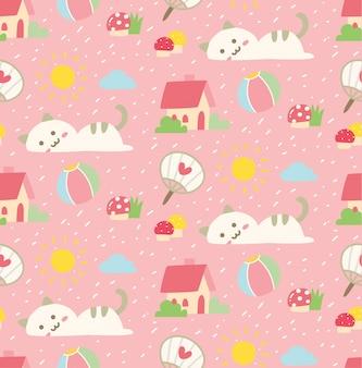 かわいい猫のカワイイスタイルでシームレスな背景