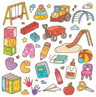 幼稚園のおもちゃや機器の落書きセット