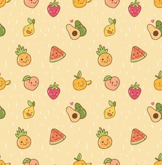 Каваи фрукты бесшовный фон