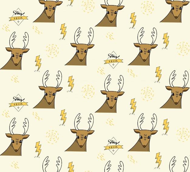 鹿と照明ボルトのシームレスな背景