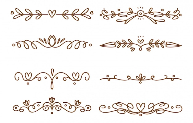 渦巻き模様の装飾的な仕切りのセット