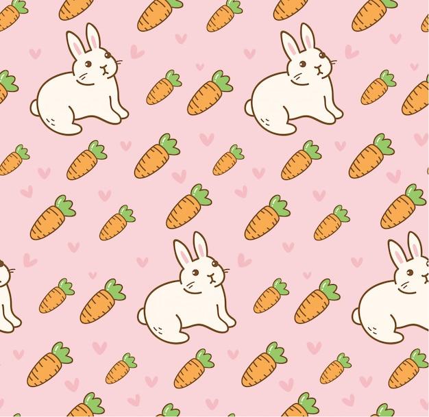 ニンジンのシームレスパターンを持つかわいいウサギ