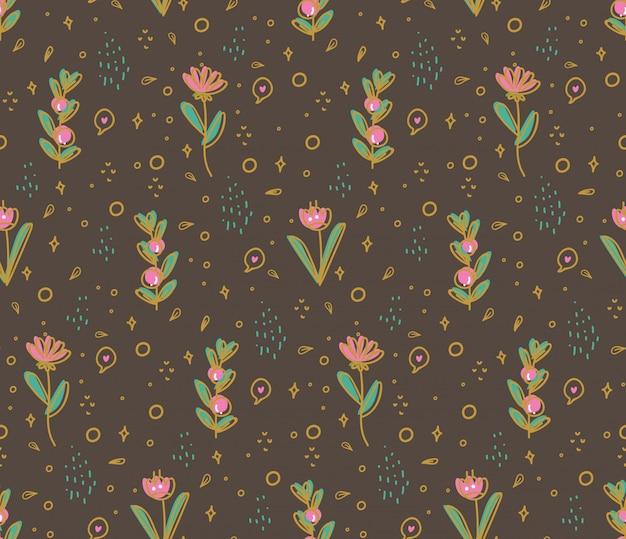 落書きスタイルの図の花のシームレスパターン