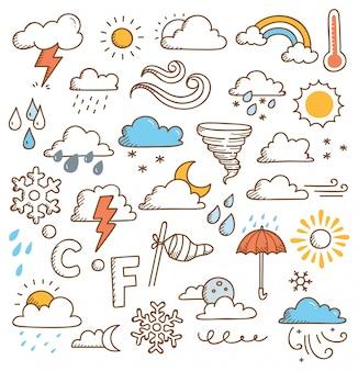 Набор погодных рисунков иллюстрации
