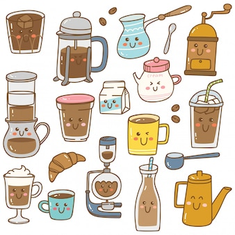 Набор кофейного оборудования в стиле каваи каракули