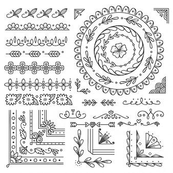 手描きのボーダーとフレーム、ウェディングカードのデザイン要素