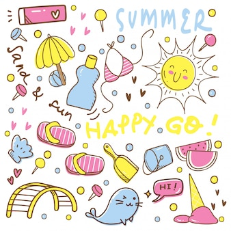 かわいい夏手描き落書きのセット