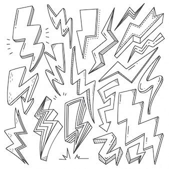 落書きスタイルの雷ボルトのセット