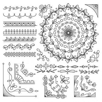 手描きの境界線とフレーム、ウェディングカードのデザイン要素
