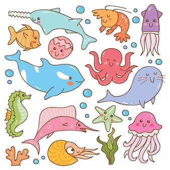 海の動物カワイイ落書きのセット