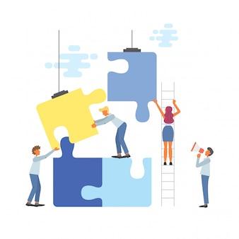 フラットスタイルの図のビジネスチームワークの概念