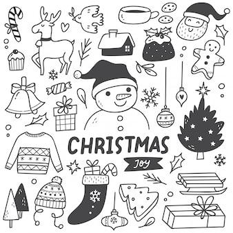落書きスタイルのクリスマス要素のセット