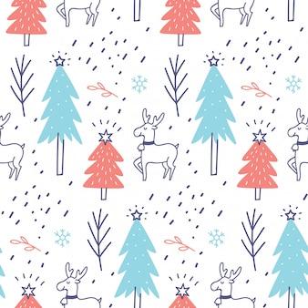 クリスマステーマのシームレスパターン