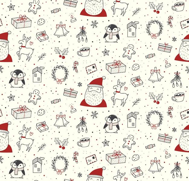 Симпатичные рождественские каракули бесшовные модели
