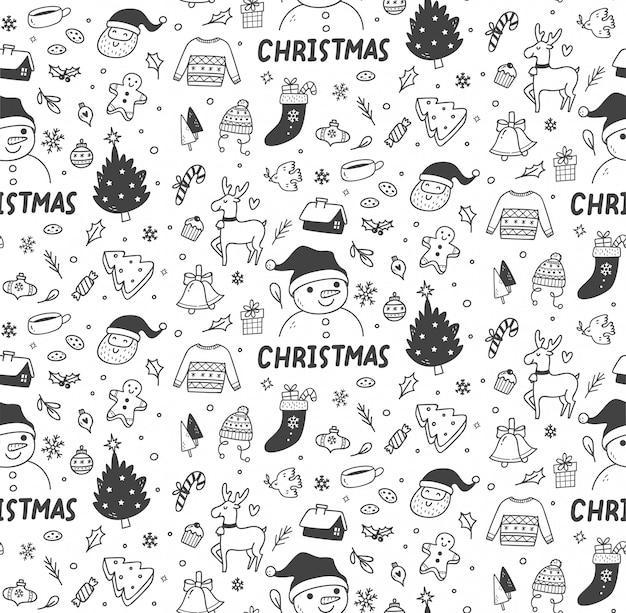 かわいいクリスマス落書きシームレスパターン