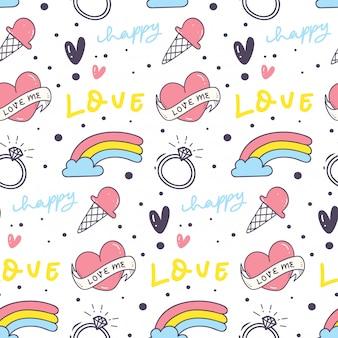 心と虹のかわいいシームレスな背景